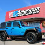 "2017 Blue Sport JK Jeep 2.5″ Rough Country lift 17x9 Ballistic 814 Jester flat black with 35"" tires"