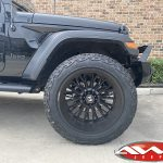 "2020 Black Jeep Gladiator 2.5″ Rough Country lift 22×12 Hostile H114 ""Fury"" wheels asphalt 35″ tires"