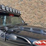 "2020 Rubicon JT Gladiator KC HiLites upper windshield mounted 6"" Rigid Industries Spot Beam LED lights A-pillar mounted 4"""