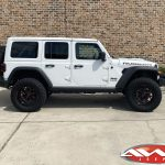 """2020 JL Rubicon Jeep 2.5"""" lift 20×10 Moto Metal MO999 wheels gloss black with red milled accents 37″ tires stubby bumper"""