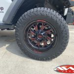 """2020 JL Rubicon Jeep 2.5"""" lift 20×10 Moto Metal MO999 wheels gloss black with red milled accents 37″ tires"""