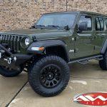 "2020 Sarge Green JL Jeep 2.5″ Mopar Jeep lift Fox Shocks 18x9 Fuel ""Vector"" wheels matte black 35"" Ridge Grappler Tires"