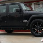 """2016 Black Sahara JK Jeep 20"""" Fuel Off-road """"Coupler"""" Black & Machined Dark Tint 33x12.50R20 Toyo Open Country AT II tires"""
