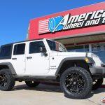 "2017 White Sport JK Jeep 3″ Zone Off-road lift 20"" Ballistic""Razorback"" black 35x12.50R20 Toyo Open Country A/T II tires"