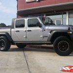"2020 Silver JT Gladiator 2.5″ Rough Country lift 18"" Fuel D551 ""Trophy"" wheels matte black lip 35"" Nitto Ridge Grappler tires"