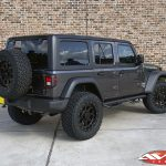 """2020 Jeep JL wrangler 2.5"""" Lift DV8 Front bumper with winch 20x9 XD """"FMJ"""" 35"""" A/T tire Nfab side steps left rear angle"""
