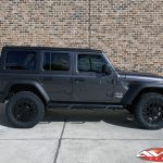 """2020 Jeep JL wrangler 2.5"""" Lift DV8 Front bumper with winch 20x9 XD """"FMJ"""" 35"""" A/T tire Nfab side steps side angle"""