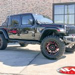 "2020 black jeep gladiator rubicon 3.5"" rough country lift dv8 offroad chase rack 20x10 moto metal 978 razor wheels 37"" tires"
