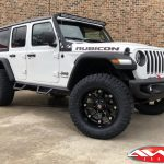 "2020 White JL rubicon 3.5"" rought country lift 20x10 ballistic beast wheels 35"" nitto ridge grappler tires 50"" LED light bar"