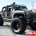 "kevlar green jk 4"" skyjacker lift king shocks 20x12 rbp wheels 38"" Nitto mud grappler tires rugged ridge winch mount bumper"