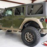 "2020 Green Bronze JL Jeep 2″ Mopar lift fox shocks 18x9 American Racing AR202 wheels matte bronze with black lip 35"" tires"