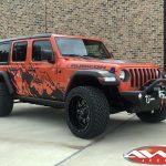 "2020 Punk'n Orange JL Jeep Build 22×12 Rolling Big Power 89R Assassin wheelsgloss black milled 33"" tires"