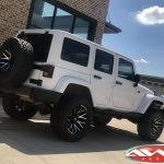 "White Sport JK Jeep 4″ Rough Country lift 20x10 Dropstar 654 wheels gloss black machined 35"" Toyo Open Country AT II tires"