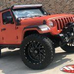 "2018 Kevlar coated Orange Sport JL Jeep 3.5"" skyjacker lift 22x12 tis 544 black wheels 37"" toyo m/t tires 50 light bar"