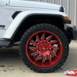 "2020 White Sport Gladiator 20"" Fuel Off-road D745 saber wheels in candy red 33x12.50R20 Venom Power Terra Hunter X/T tires"