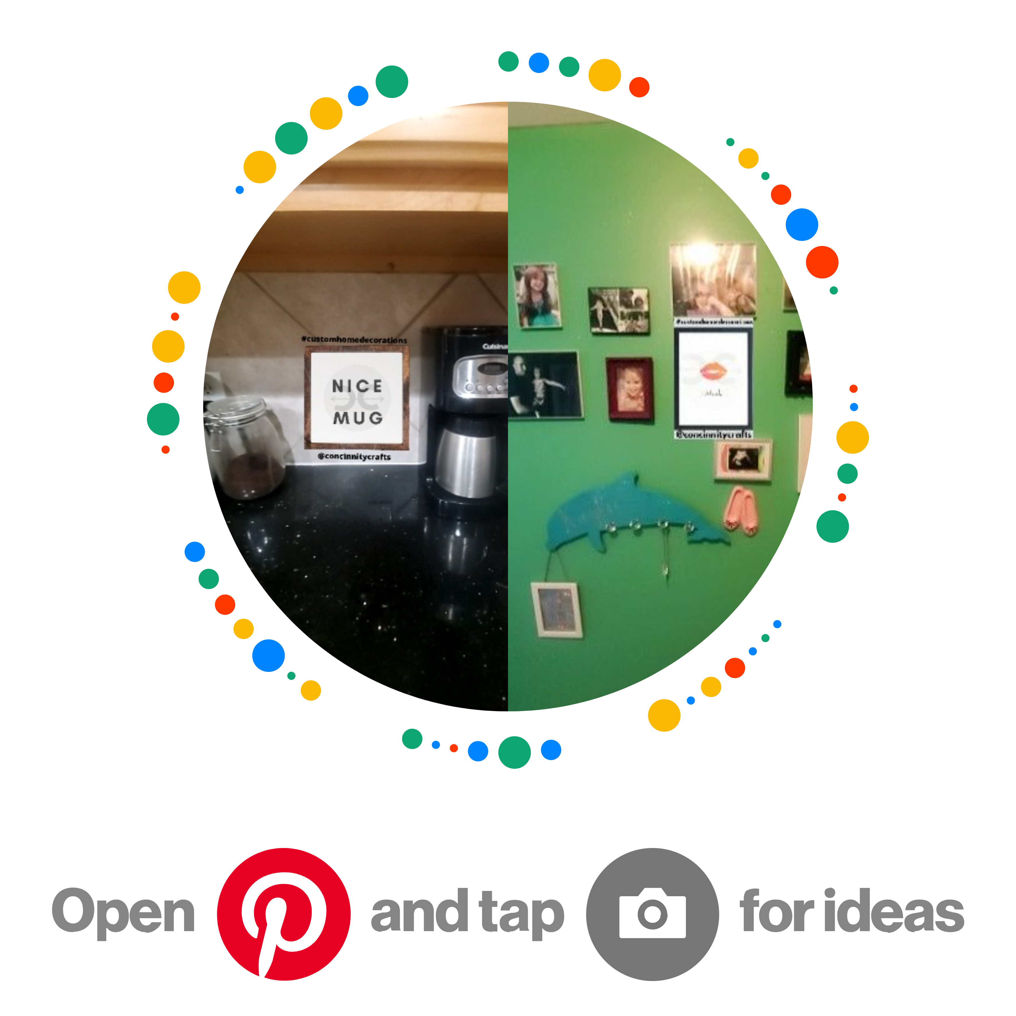 Get wall decor design ideas and inspiration! Feel free to try before you buy and see what your design would look like on your wall at home straight from your phone camera! Submit your photos on our website to get a chance to appear on social media! Follow @concinnitycrafts on Instagram! #concinnitycrafts #customhomedecorations