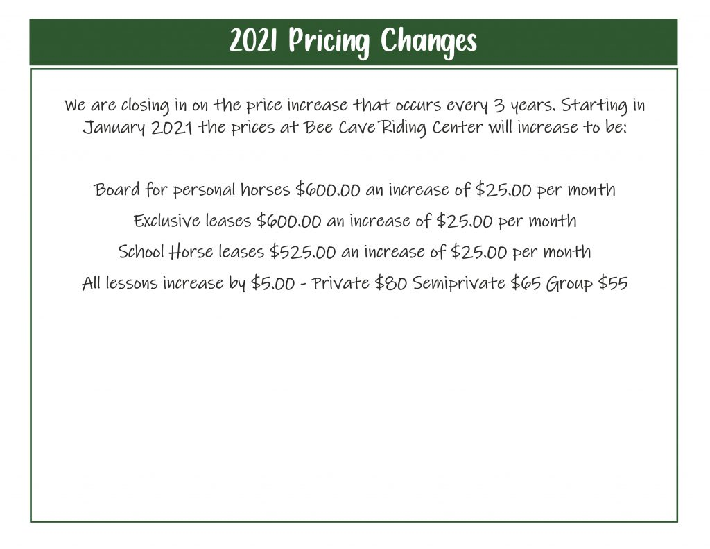 2021 Price Changes