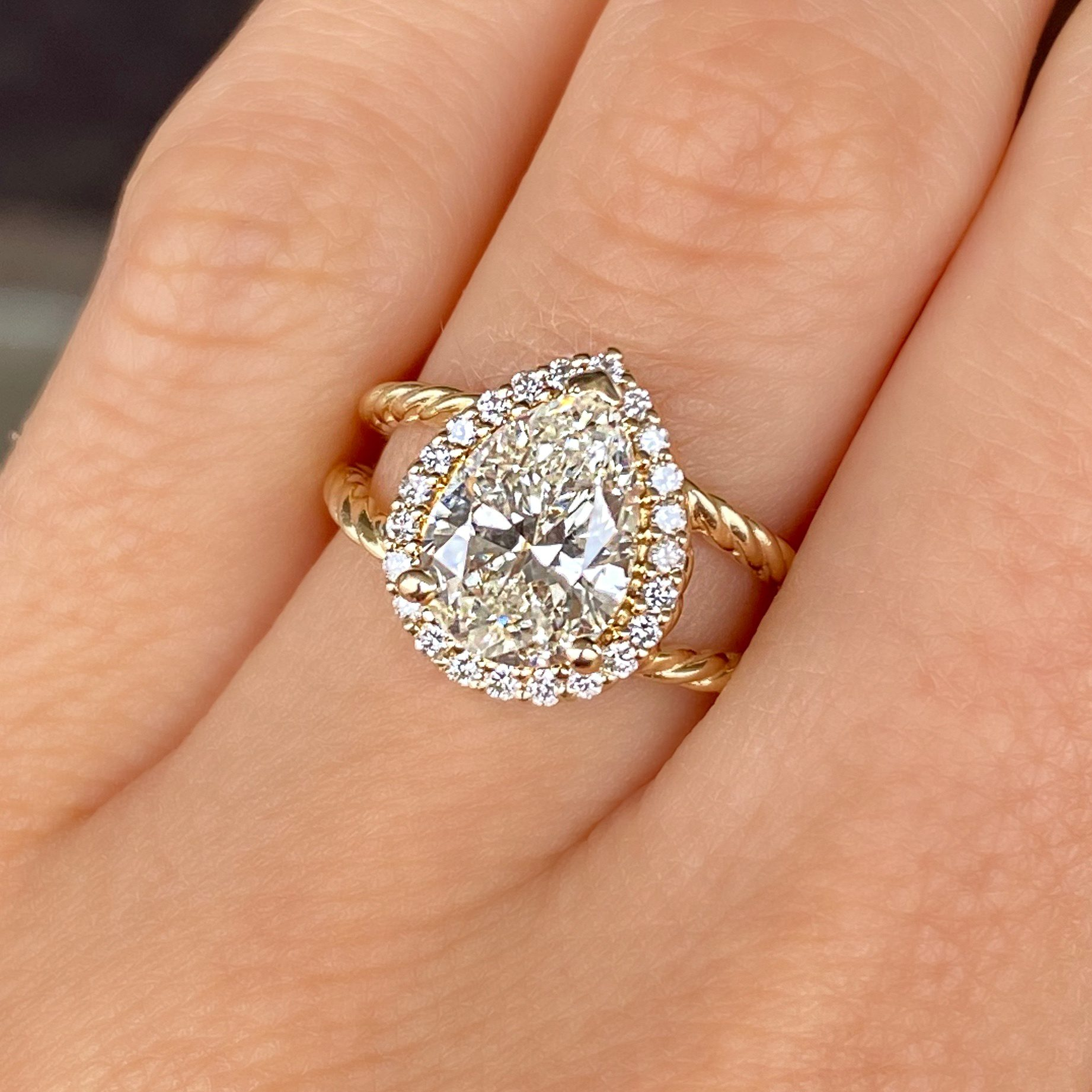 Custom Pear Shaped Diamond Engagement Ring created by Crawford's Jewelers in Waycross, Georgia