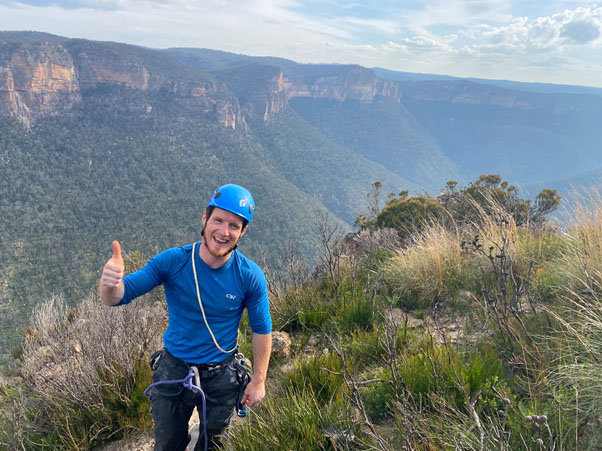 Happy Climber in the Blue Mountains