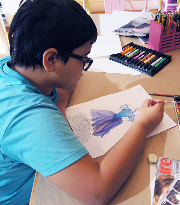 watercolor painting fashion class for children