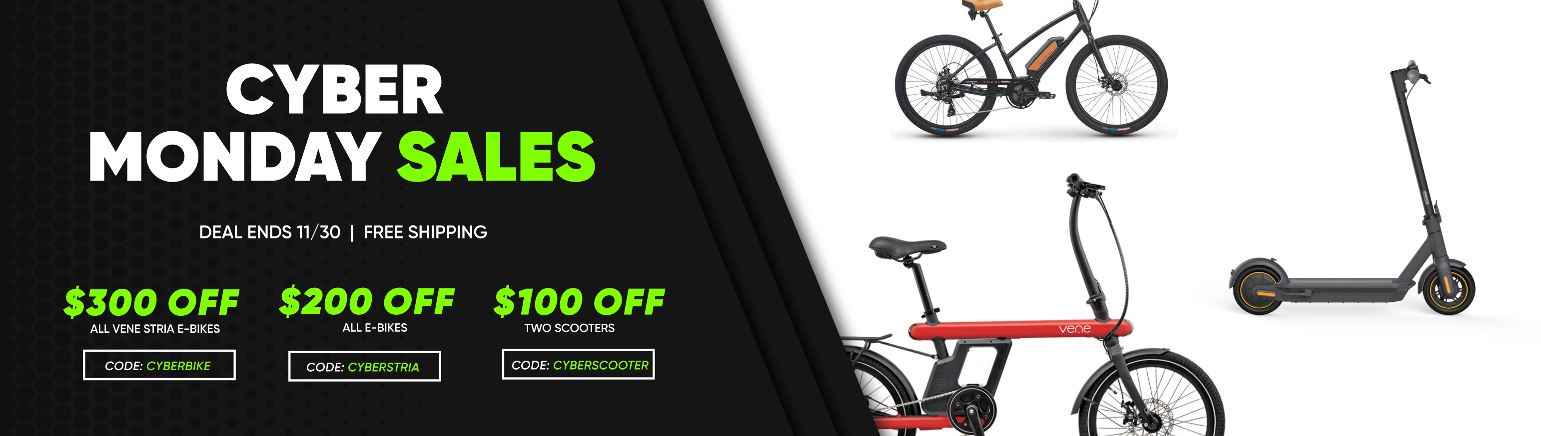 vene rides cyber monday black friday ebike scooter sale