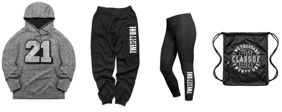 senir grad gear items: hoodie, joggers, leggings, drawstring bag