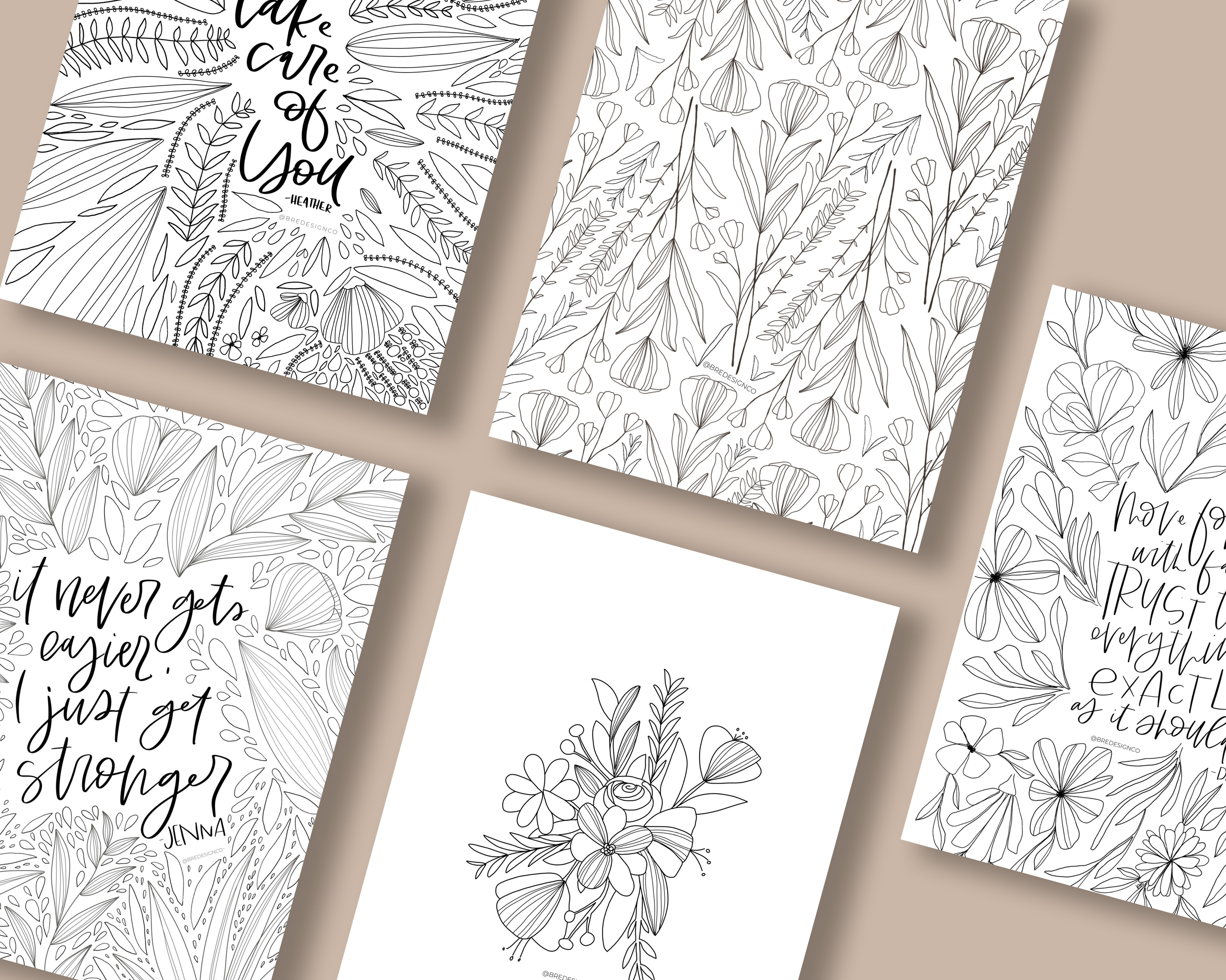 5 page coloring book flat lay