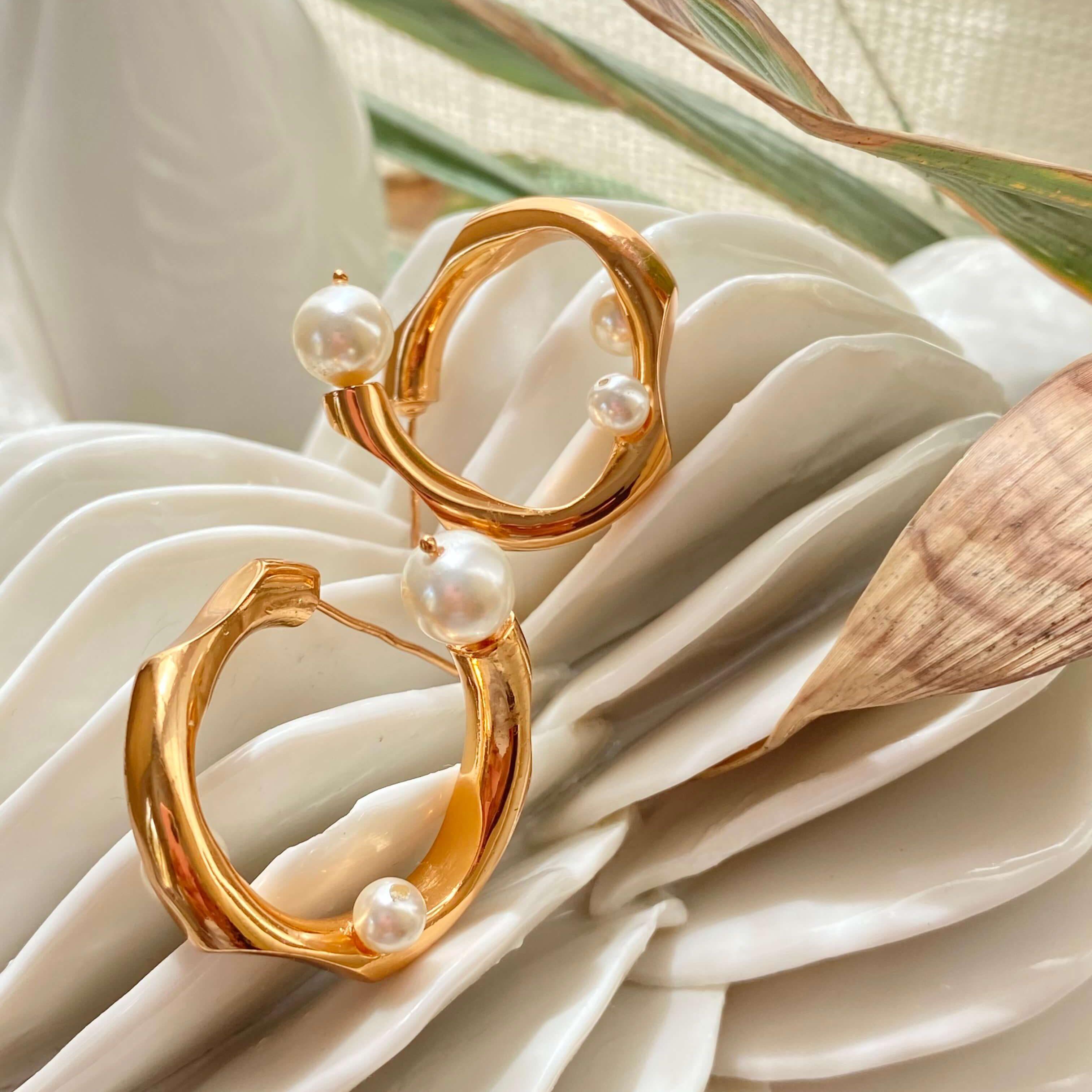 The Myriad Twisted Pearl Hoops