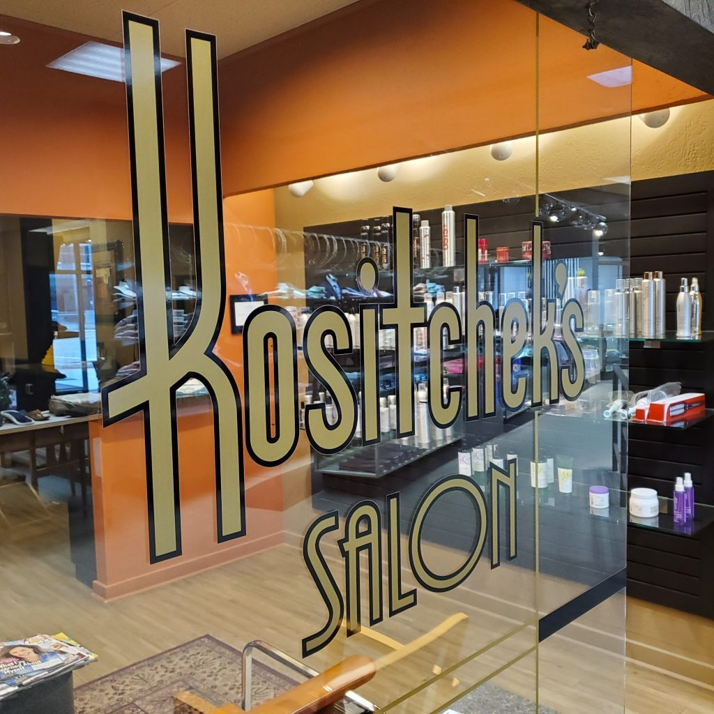 Kositchek's Salon logo and entrance
